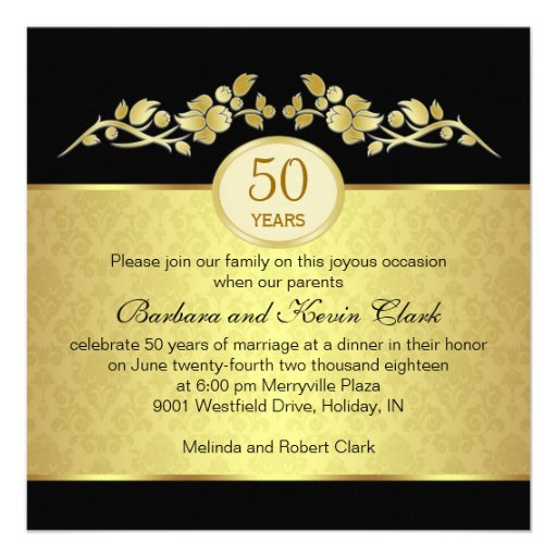 Black & gold, damask 50th Wedding Anniversary Personalized Invitation