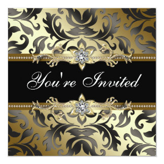 Black Gold Damask All Occasion Party Invitations