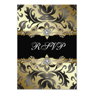 Black Gold Damask All Occasion Party RSVP Card