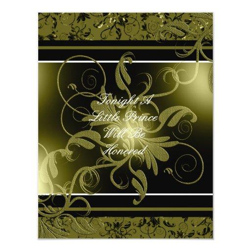 "Black Gold Damask Baby Shower Invitation 4.25"" X 5.5"" Invitation Card"