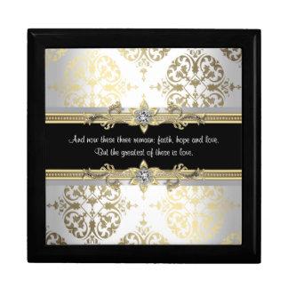Black Gold Damask Bible Verse Keepsake Box