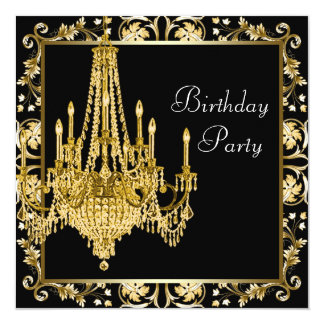 Black Gold Damask Chandelier Birthday Party Card