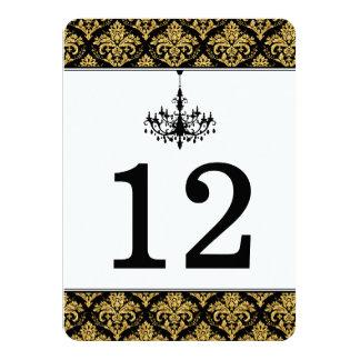 Black, Gold Damask, Chandelier Table Number Card