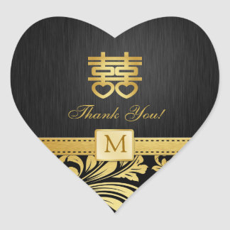Black & Gold Damask Chinese Double Happiness Heart Heart Sticker