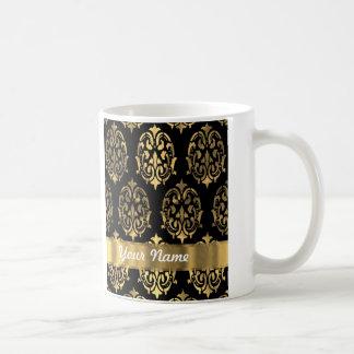 Black & gold damask coffee mug