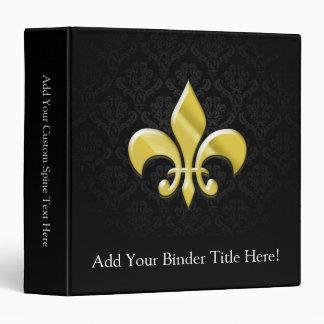 Black/Gold Damask Fleur de Lis 3 Ring Binder