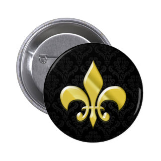 Black/Gold Damask Fleur de Lis Button