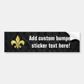 Black/Gold Damask Fleur de Lis Car Bumper Sticker