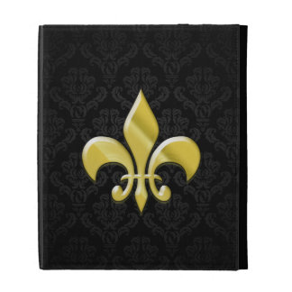 Black/Gold Damask Fleur de Lis iPad Case