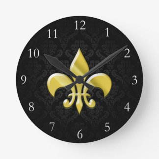 Black/Gold Damask Fleur de Lis Round Wallclock