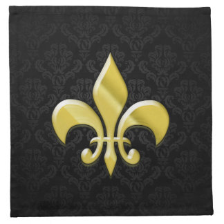 Black/Gold Damask Fleur de Lis Cloth Napkin