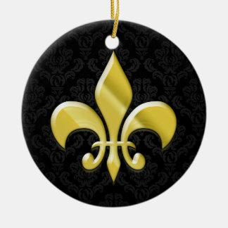 Black/Gold Damask Fleur de Lis Double-Sided Ceramic Round Christmas Ornament