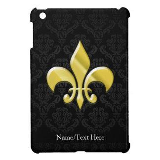 Black/Gold Damask Fleur de Lis iPad Mini Cover