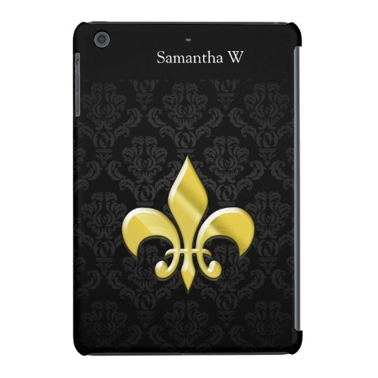 Black/Gold Damask Fleur de Lis iPad Mini Retina Case
