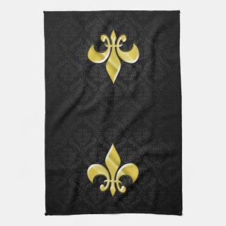 Black Gold Damask Fleur de Lis Hand Towel