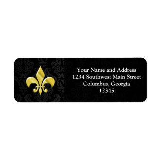 Black/Gold Damask Fleur de Lis Return Address Labels