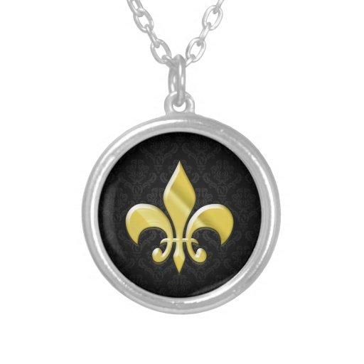 Black/Gold Damask Fleur de Lis Personalized Necklace