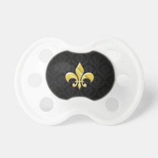 Black/Gold Damask Fleur de Lis Pacifier