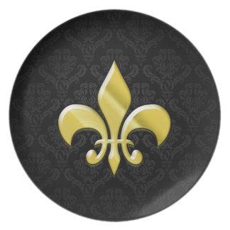 Black/Gold Damask Fleur de Lis Dinner Plates