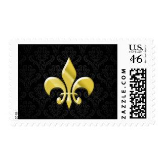 Black Gold Damask Fleur de Lis Postage