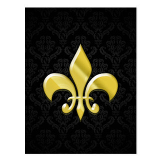 Black/Gold Damask Fleur de Lis Postcards