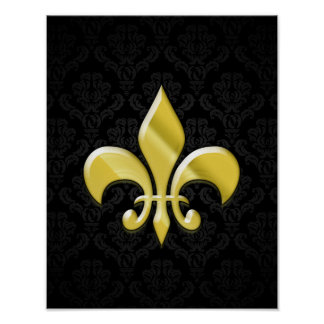 Black/Gold Damask Fleur de Lis Poster