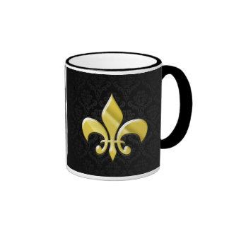Black/Gold Damask Fleur de Lis Ringer Mug