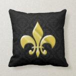 Black/Gold Damask Fleur de Lis Throw Pillow