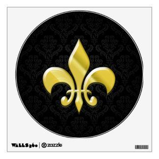 Black/Gold Damask Fleur de Lis Wall Skins