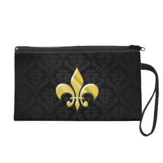 Black/Gold Damask Fleur de Lis Wristlet Purse