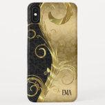 Black Gold Damask Gold Swirls iPhone XS Max Case