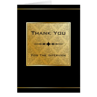 Black & Gold Damask Interview Thank You Card