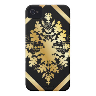 Black & Gold Damask iPhone 4 Case-Mate Case