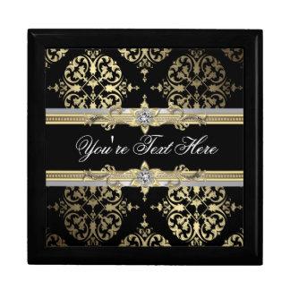 Black Gold Damask Keepsake Gift Box
