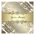 Black Gold Damask Party Personalized Announcements