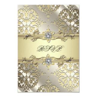 Black Gold Damask Party RSVP Card