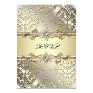 Black Gold Damask Party RSVP Custom Announcements