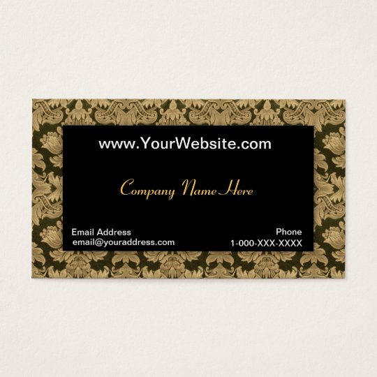 Black Gold Damask Profile Card