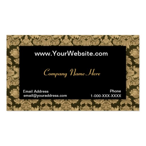 Black Gold Damask Profile Card Double Sided Standard