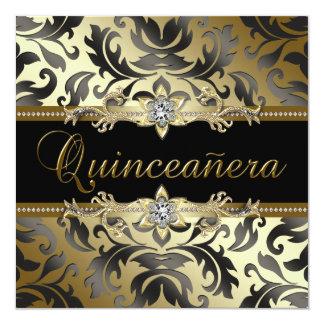 Black Gold Damask Quinceanera Invitations