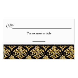 Black, Gold Damask Reception Place Card Double-Sided Standard Business Cards (Pack Of 100)