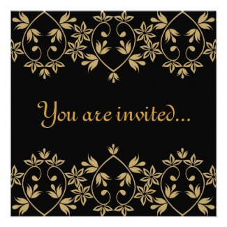 Black gold damask royal Wedding Invitations