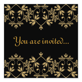 Black gold damask royal Wedding Invitations