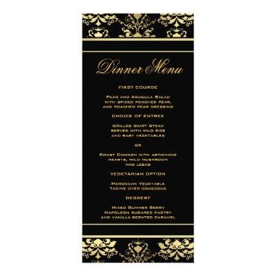 Black & Gold Damask Slim Dinner Menu Rack Card