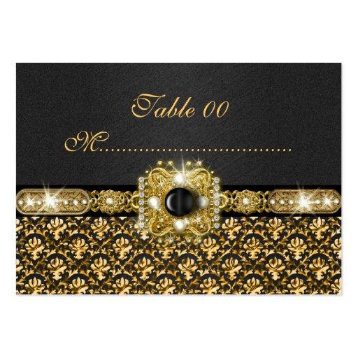 """Black gold damask """"table number"""" wedding large business card"""