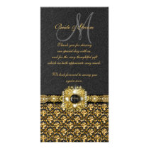 "Black gold damask ""thank you"" card"