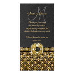 "Black gold damask ""thank you"" card"