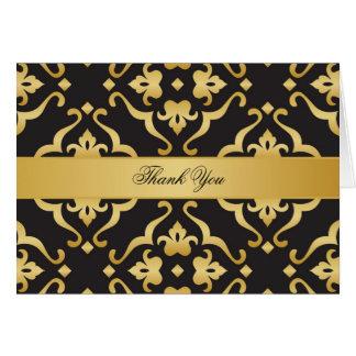 Black & Gold Damask Thank You Cards