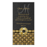 """Black gold damask """"thank you"""" picture card"""