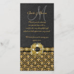 """Black gold damask &quot;thank you&quot; thank you card<br><div class=""""desc"""">""""Wedding thank you cards"""" with customizable text templates. DESIGN – This flat, skinny card has a &quot;charcoal grey&quot; background, with a golden damask pattern at the bottom, topped by a black band and a gold chain encrusted with pearls, diamonds, and a black topaz set in a shimmering square clasp, which...</div>"""